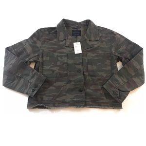 Sanctuary Green Camo Button Crop Jacket
